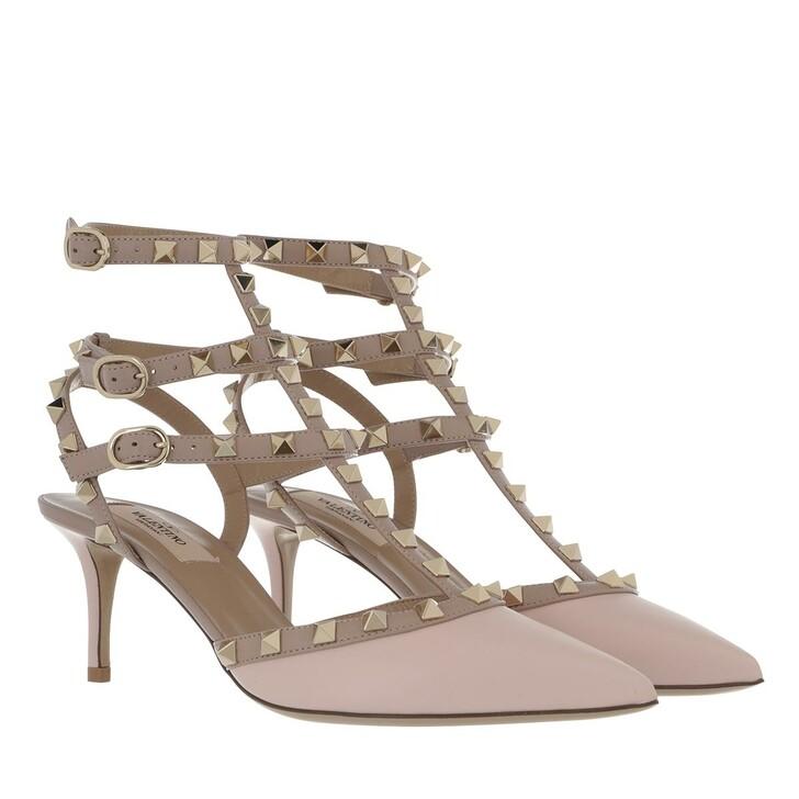 shoes, Valentino Garavani, Rockstud Pump Ankle Strap Rose/Poudre