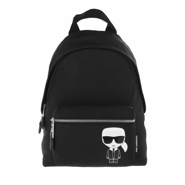 bags, Karl Lagerfeld, Ikonik Nylon Klassik Medium Bagpack  Black