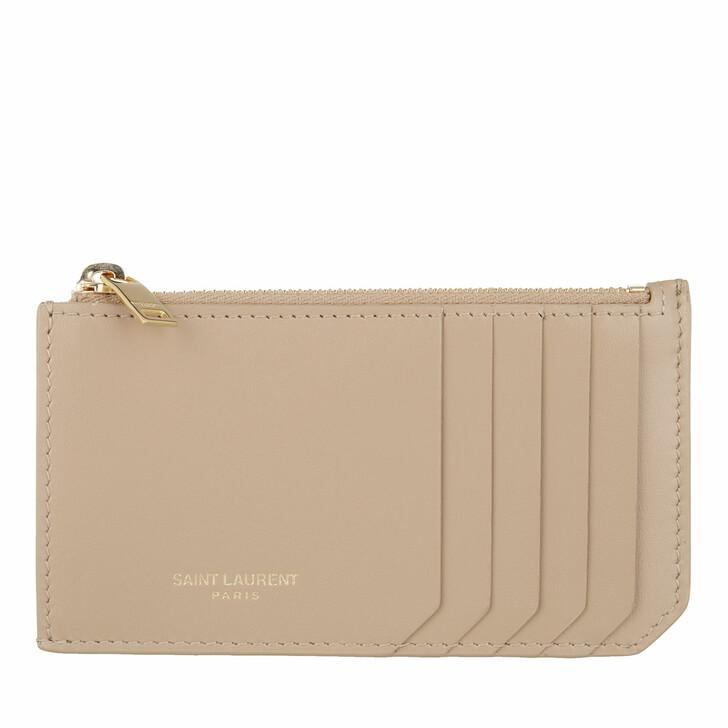 Geldbörse, Saint Laurent, Fragments Zipped Card Case Leather Dark Beige