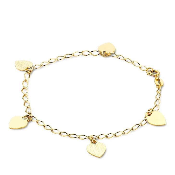 bracelets, DIAMADA, 14KT Heart Bracelet 19cm  Yellow Gold