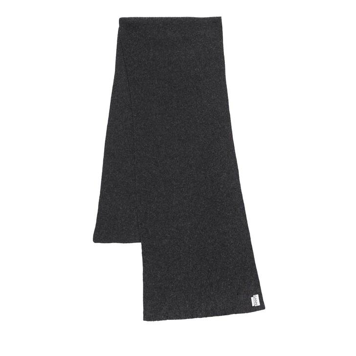 Schal, GANNI, Recycled Wool Knit Scarf Phantom