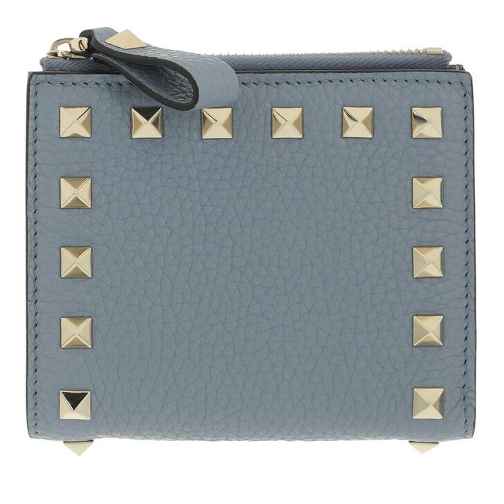 wallets, Valentino Garavani, Rockstud Flap French Compact Wallet Leather Light Blue