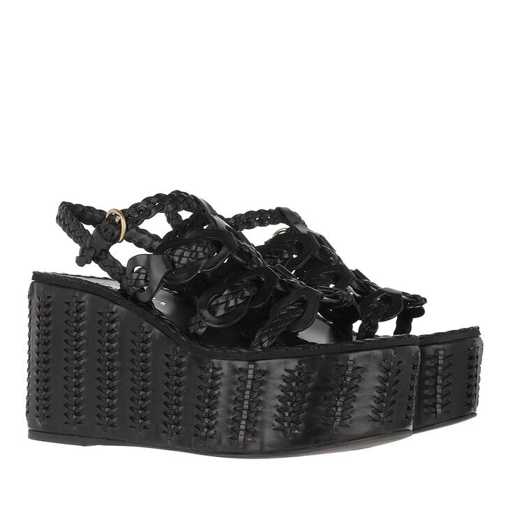 shoes, Prada, Platform Sandals Leather Black
