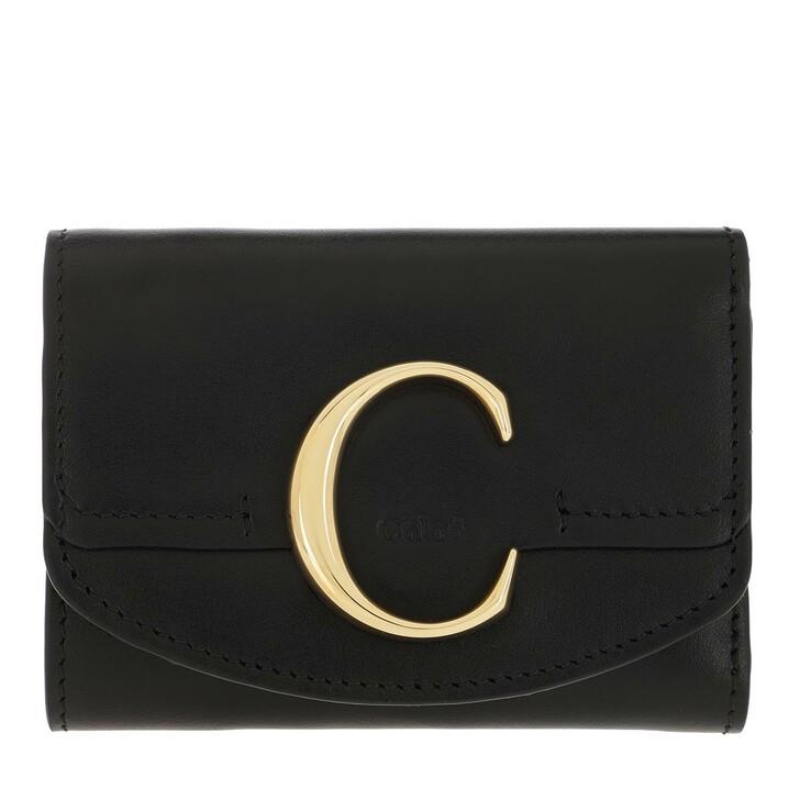 wallets, Chloé, C Folding Wallet Leather Black