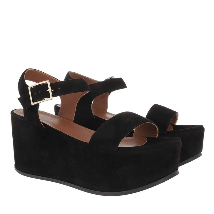 Schuh, L´Autre Chose, Suede Zeppa Platform Sandal Black