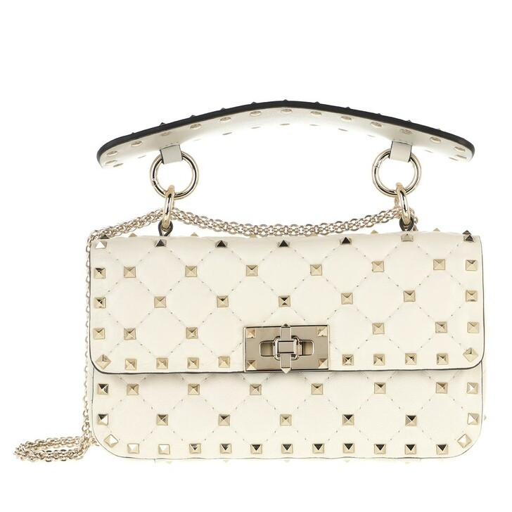 Handtasche, Valentino Garavani, Rockstud Spike Crossbody Bag Small Light Ivory