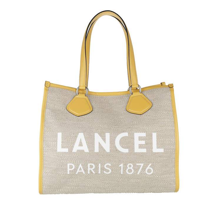 Handtasche, Lancel, Summer Jute Canvas And Smooth Leather Tote Large Natural/Sun