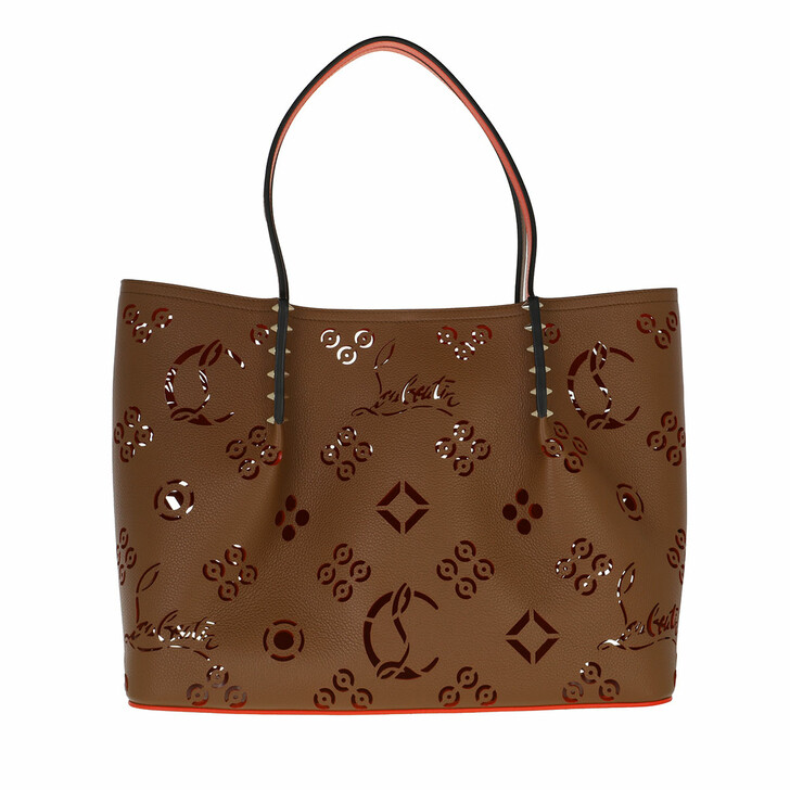 bags, Christian Louboutin, Large Cabarock Tote Bag Biscuit/Loubi Red