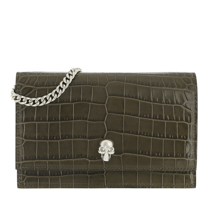 bags, Alexander McQueen, Skull Mini Crossbody Bag Leather Khaki