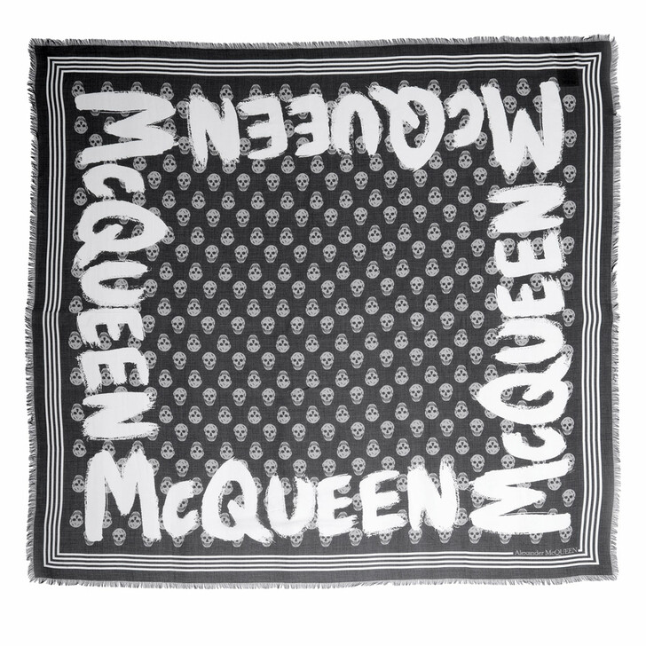 scarves, Alexander McQueen, Logo Shawl Black/Ivory