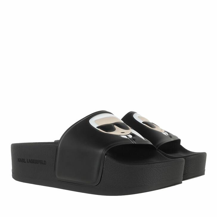 Schuh, Karl Lagerfeld, KONDO MAXI Ikonic Platform Slide Black Rubber