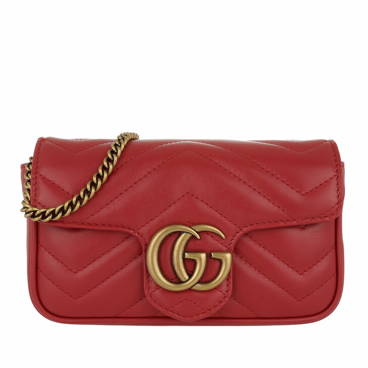 bags, Gucci, GG Marmont Matelassé Leather Super Mini Bag Rosso