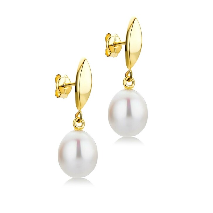Ohrring, DIAMADA, 9KT Cultured Pearl Drop Earrings Yellow Gold
