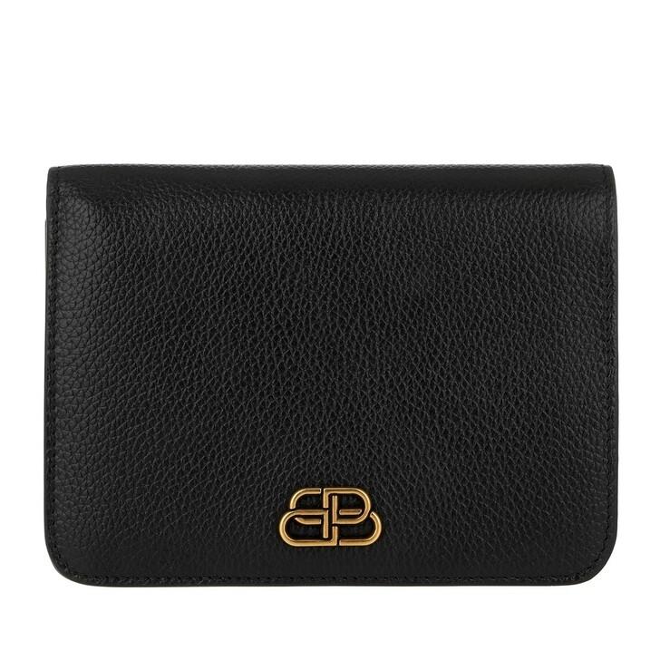 wallets, Balenciaga, Medium BB Wallet Leather Black