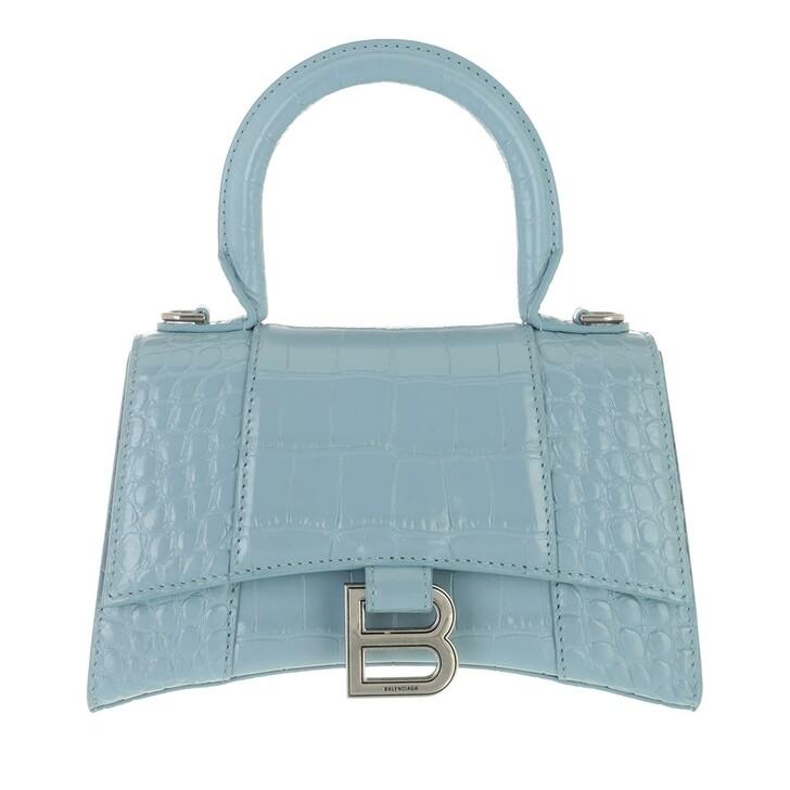 bags, Balenciaga, Hourglass Top Handle XS Shoulder Bag Blue Grey