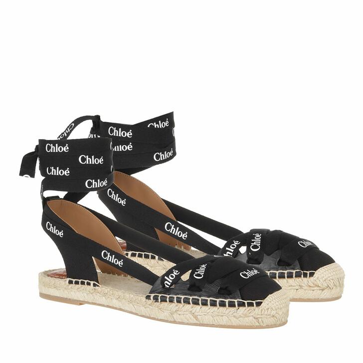 Schuh, Chloé, Flat Ingrid Lace Espadrilles Canvas Black