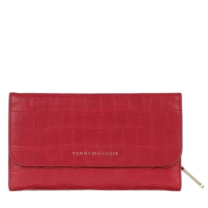 wallets, Tommy Hilfiger, Soft Turnlock Wallet With Flap Croc Barbados Cherry