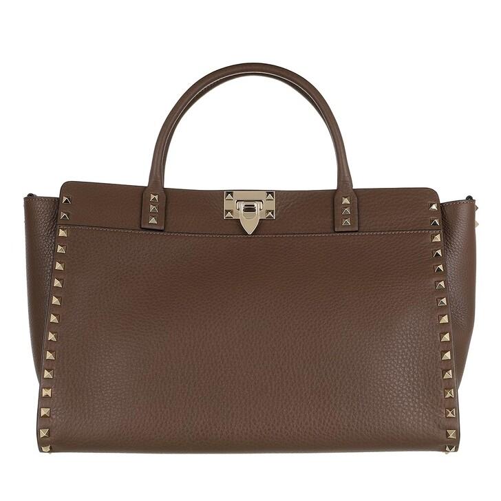Handtasche, Valentino Garavani, Satchel Bag Leather Deep Taupe