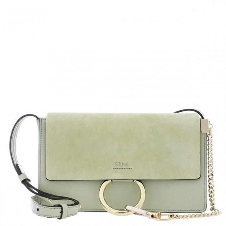 Handtasche, Chloé, Faye Small Shoulder Bag Suede Calfskin Light Eucalyptus