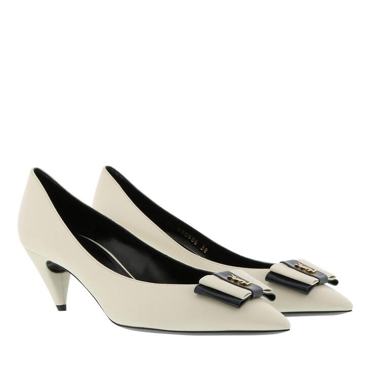 Schuh, Saint Laurent, Anais 55 Decollete Pumps Leather Pearl/Navy