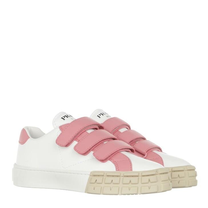 Schuh, Prada, Two Tone Sneaker Leather Bianco Petalo