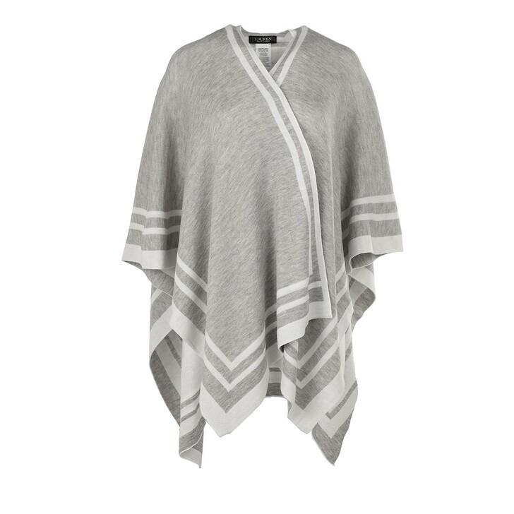 scarves, Ralph Lauren, Striped Ruana Poncho Mid Grey/Cream