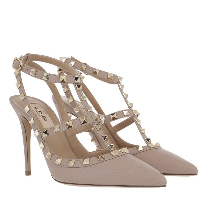 Schuh, Valentino, Rockstud Ankle Strap Pump Powder