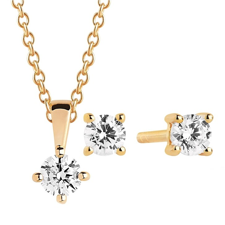Kette, Sif Jakobs Jewellery, Princess Piccolo Round White Set Yellow Gold