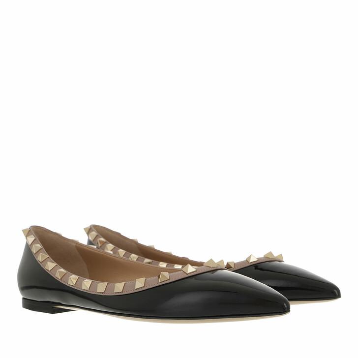 Schuh, Valentino Garavani, Rockstud Ballerina Nero Poudre
