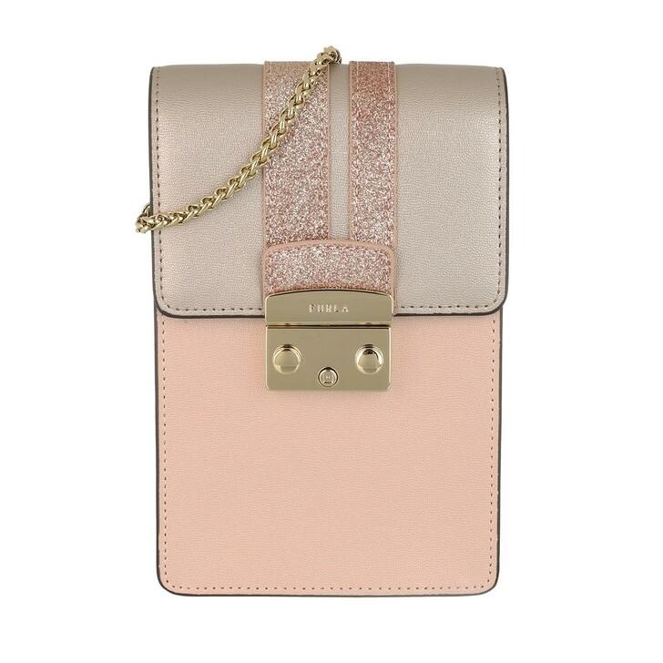 Handtasche, Furla, Metropolis Mini Vertical Crossbody Bag Leather Candy Metal