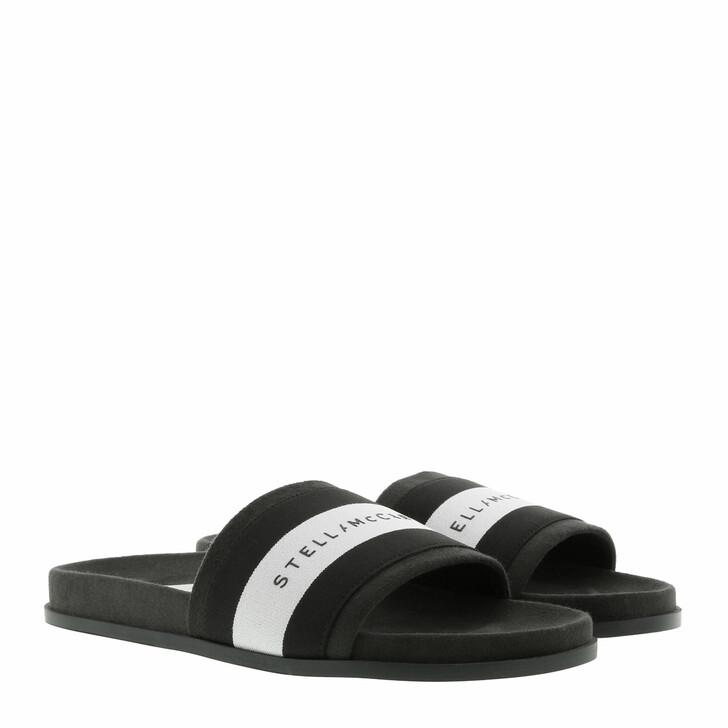 shoes, Stella McCartney, Logo Patch Slides Black