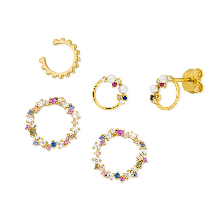 earrings, Leaf, Ear Candy Set 1 Sterlingsilver Gold
