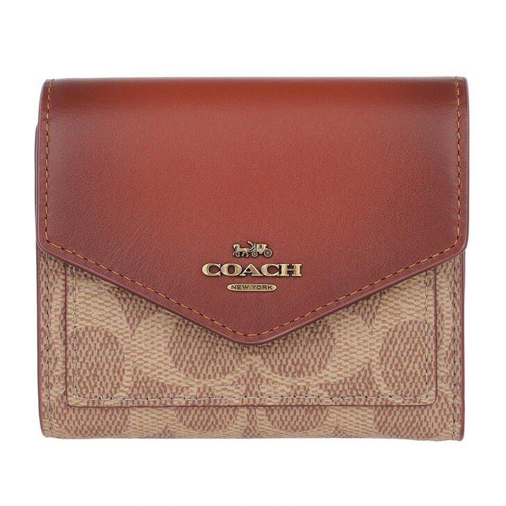 wallets, Coach, Colorblock Coated Canvas Signature Small Wallet Tan Rust