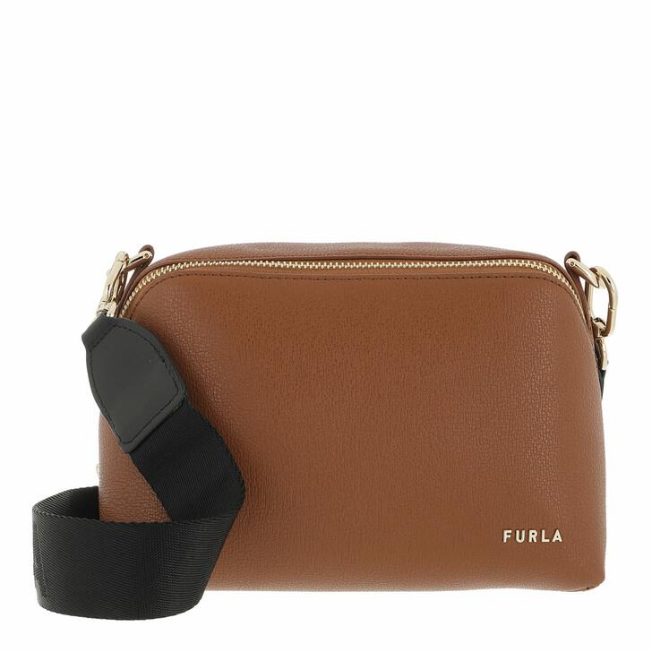 bags, Furla, Furla Amica S Crossbody Cognac H+Nero