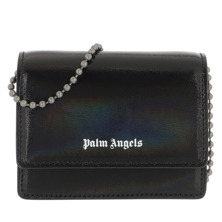 wallets, Palm Angels, Holographic Flap Wallet&Chain Black Whit Black White