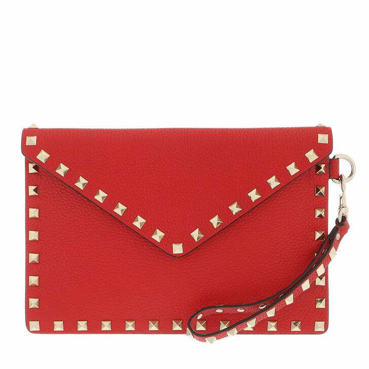 bags, Valentino Garavani, Rockstud Clutch Medium Leather Rouge Pur