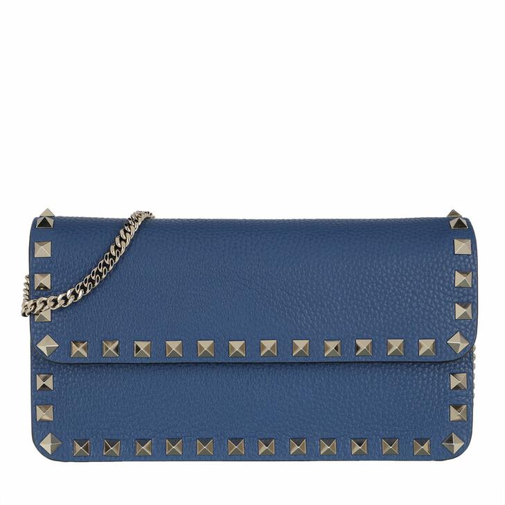 Handtasche, Valentino Garavani, Rockstud Pouch Leather Blu Delft