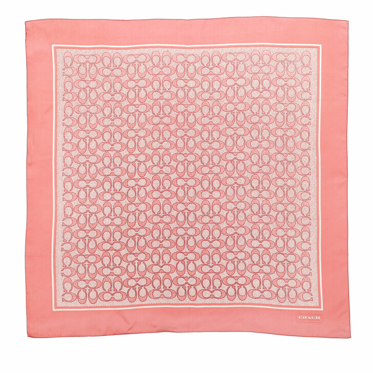 scarves, Coach, Vintage Signature C Printed Silk Square Candy Pink