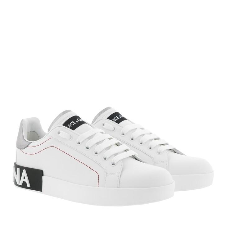 shoes, Dolce&Gabbana, Portofino Sneakers Calf Leather White/Silver