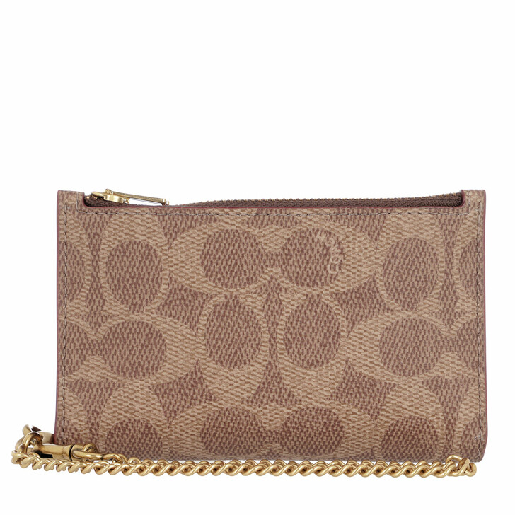 wallets, Coach, Coated Canvas Signature Zip Chain Card Case Tan Rust