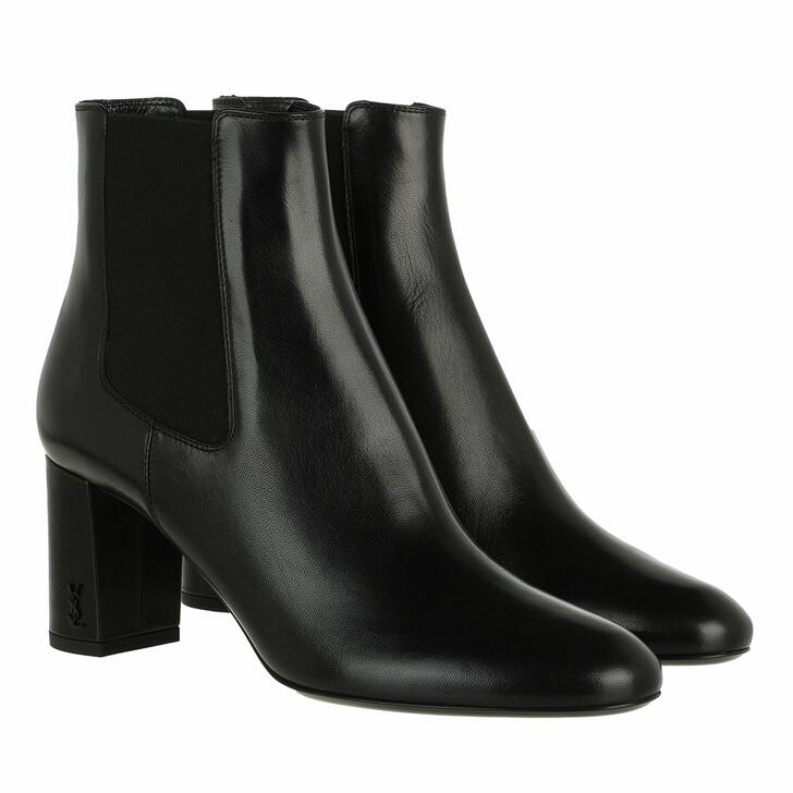 shoes, Saint Laurent, Loulou 70 Leather Chelsea Booties Black