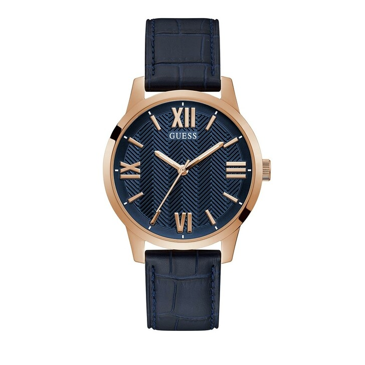 Uhr, Guess, Mens Dress Genuine Leather Watch Blue