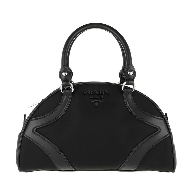 Handtasche, Prada, Bowling Bag Nylon Leather Black