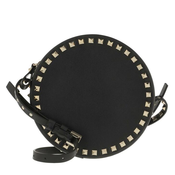Handtasche, Valentino Garavani, Rockstud Round Shoulder Bag Black