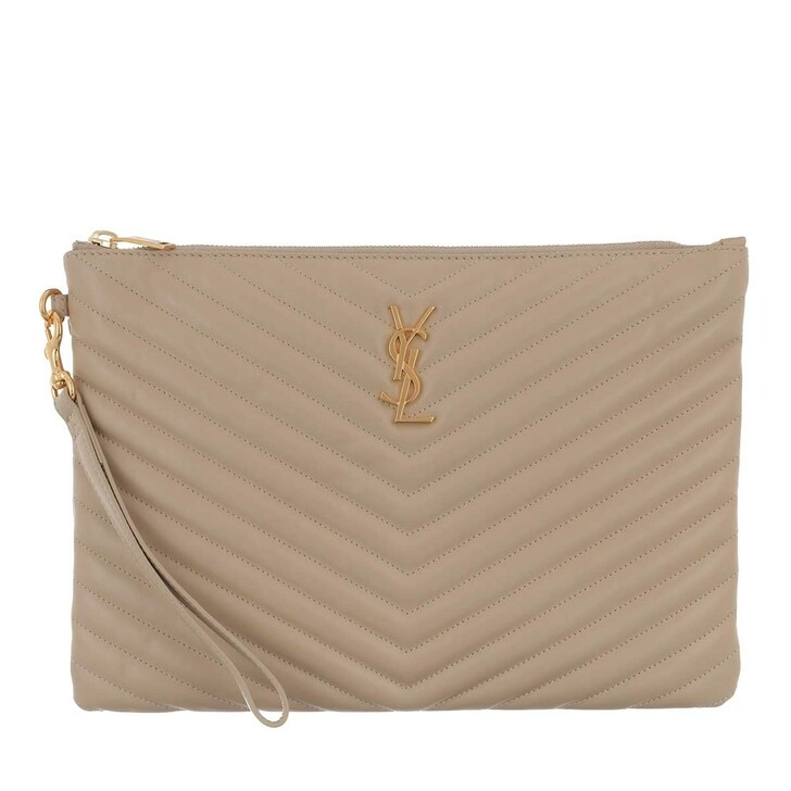 Handtasche, Saint Laurent, Monogram Pouch Quilted Leather Sea Salt
