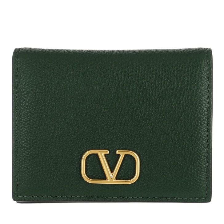 wallets, Valentino Garavani, V Logo Wallet Leather English Green