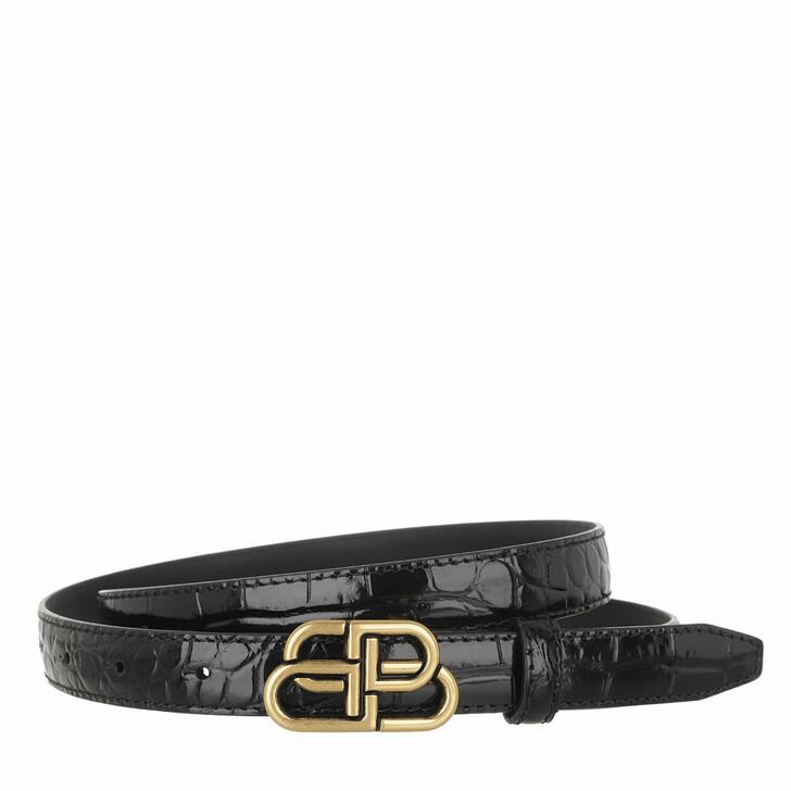 Gürtel, Balenciaga, The BB Belt Shiny Croc Embossed Leather Black