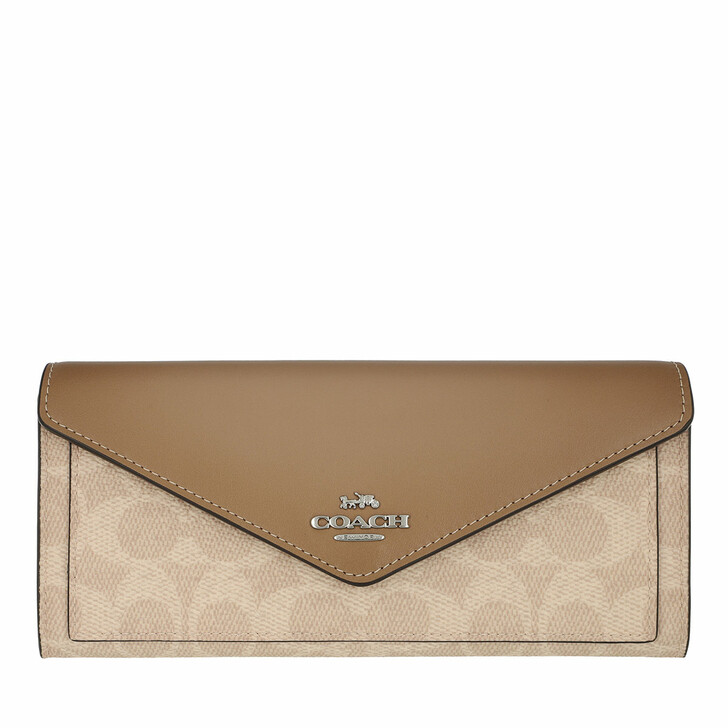 Geldbörse, Coach, Colorblock Coated Canvas Signature Soft Wallet Sand Taupe