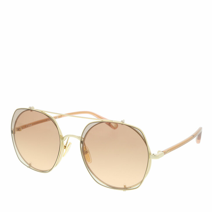 Sonnenbrille, Chloé, Sunglass WOMAN METAL GOLD-BROWN-BROWN