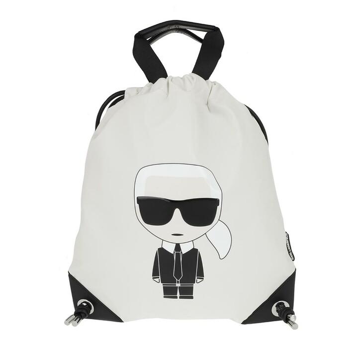 Reisetasche, Karl Lagerfeld, Karl Ikonik Nylon Flat Backpack White